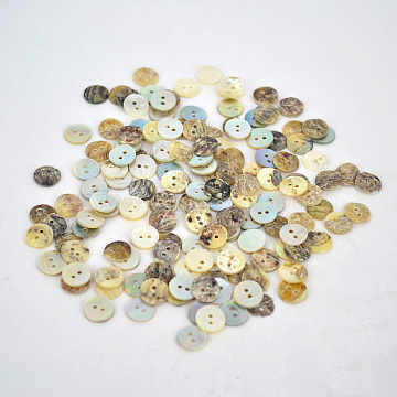 Pearl Oyster Shell Buttons, Flat Round, about 9mm in diameter, hole: 2mm, about 1440pcs/bag(NNA0VFR)
