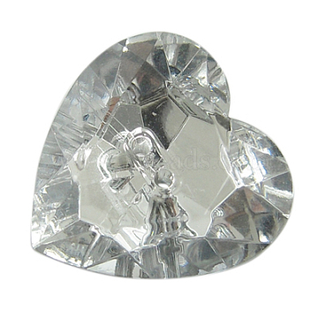 2-Hole Acrylic Faceted Heart Sewing Buttons, Clear, about 16mm in diameter, 5mm thick, hole: 1.5mm(AR2970-16MM-02)