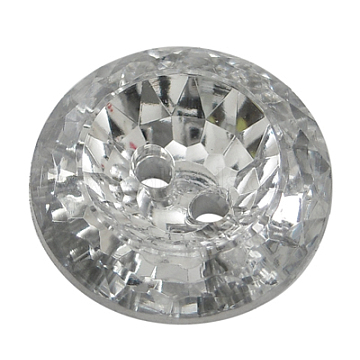 2-Hole Acrylic Faceted Flat Round Sewing Buttons, Clear, about 15mm in diameter, 6mm thick, hole: 1.8mm(AR3229-15-02)