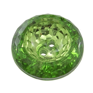 2-Hole Acrylic Faceted Flat Round Sewing Buttons, Sea Green, about 25mm in diameter, 9mm thick, hole: 2.2mm(AR3229-25-38)