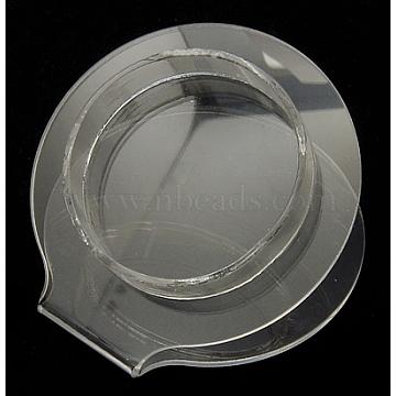 Bracelet Displays, Plastic, Clear, Size: about 7cm wide, 7.5cm long, 4cm high(BDIS-75X70)