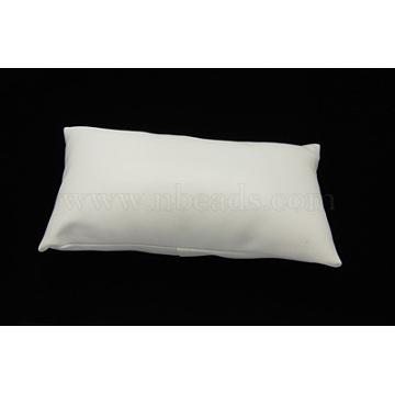 Leather Pillow Jewelry Bracelet Watch Display, White, Size: about 18cm long, 10cm wide, 6cm thick(BDIS-H015-1)