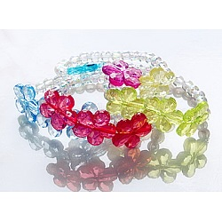 Bracelets élastiques, enfants bijoux cadeaux, avec des perles transparentes en acrylique, couleur mixte, 45mm(BJEW-JB00308)
