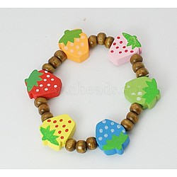 Kids Wood Bracelets, Lovely Beaded Bracelets, Stretchy, Children's Day Gift, Lead Free, Coffee, 45mm(BJEW-JB00349-11)