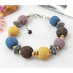 Bracelets de lave, avec des perles d'alliage, Perle en bois, des chaînes de fer et les agrafes de langoustine en alliage, colorées, 51 mm; bourrelet: 6~11 mm(BJEW-Q596-3)