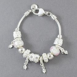 """Bracelets en alliage de style européen, avec alliage strass perles émaillées et perles de verre, blanc, 7-7/8"""" (20cm) de long(BJEW-S620-9)"""