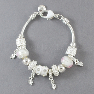 Alloy European Style Bracelets, with Alloy Rhinestone Enameled Beads and Glass Beads, White, 7-7/8 inches(20cm) long(BJEW-S620-9)