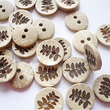 2-Hole Buttons for Kids , Coconut Button, AntiqueWhite, about 13mm in diameter, about 100pcs/bag(NNA0YX5)