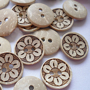 Vintage 2-Hole Coconut Buttons, Coconut Button, Tan, about 15mm in diameter, about 100pcs/bag(NNA0YXN)