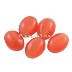 Cabochons d'œil de chat en verre, tomate, ovale / riz, environ 30 mm de large, Longueur 40mm, épaisseur de 5.5mm(CE064-30X40-8)