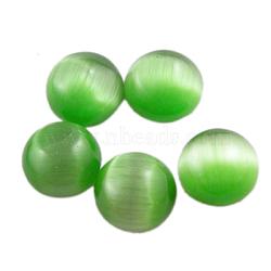 Кошка кабошонов стеклянный глаз, полукруглый / купол, зеленый, о 10 mm в диаметре, 2.5 mm(CE068-10-7)