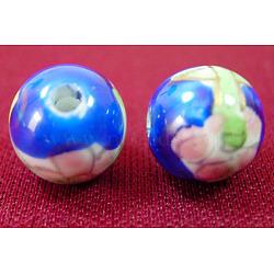 Ornement avec des perles de porcelaine d'or manuel, rond, bleu, 10 mm de diamètre, Trou: 3mm(CF152Y)