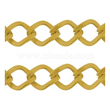 Iron Twisted Chains, Unwelded, with Spool, Rhombus, Golden, 10.8x9x1.4mm, about 328.08 Feet(100m)/roll(CH-1.4BSFD-G)