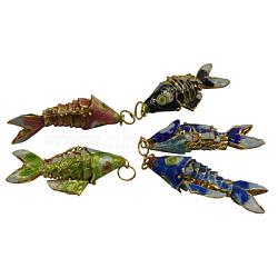Pendentifs cloisonné, poisson, couleur mixte, environ 14 mm de large, Longueur 35mm, épaisseur de 8mm, Trou: 6mm(CLB003)