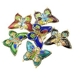 Pendentif cloisonné, couleur mixte, papillon, Longueur 20mm,  largeur de 16 mm, 3 mm d'épaisseur. trou: 1 mm(CLB015Y-M)