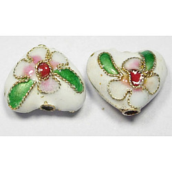 Handmade Cloisonne Beads, Heart, White, 12mm; Hole:2mm(CLB052Y-1)