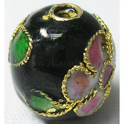 perles en cloisonné main, ronde en filigrane, noir, 10 mm, trou: 1 mm(CLB10mmC03)