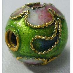 perles en cloisonné main, ronde en filigrane, yellowgreen, 10 mm, trou: 1 mm(CLB10mmC07)