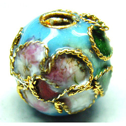 perles en cloisonné main, ronde en filigrane, bleu clair, 10 mm, trou: 1 mm(CLB10mmC09)