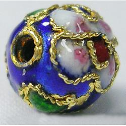 perles en cloisonné main, ronde en filigrane, bleu, 10 mm, trou: 1 mm(CLB10mmC12)