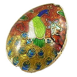 Perles en cloisonné Manuelles, goutte , rouge et jaune, longueur d'environ 24 mm ,  largeur de 18 mm, épaisseur de 7.5mm, Trou: 1 mm(CLB117Y-1)