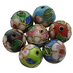 Perles en cloisonné Manuelles, rond, couleur mixte, tour 12 mm, trou: environ 2 mm(CLB12mm-M)