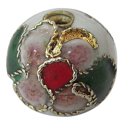 perles en cloisonné main, ronde en filigrane, blanc, 5~5.5 mm, trou: 1~1.5 mm(CLB6mmC01)