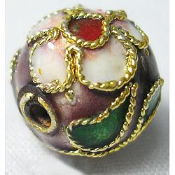 perles en cloisonné main, ronde en filigrane, pourpre, 5~5.5 mm, trou: 1~1.5 mm(CLB6mmC05)
