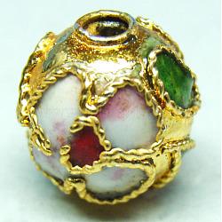 perles en cloisonné main, ronde en filigrane, or, 8 mm, trou: 1 mm(CLB8mmC06)