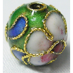 perles en cloisonné main, ronde en filigrane, vert, 8 mm, trou: 1 mm(CLB8mmC08)