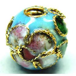 Handmade Cloisonne Beads, Filigree Round, Light Blue, 8mm, Hole: 1mm(CLB8mmC09)