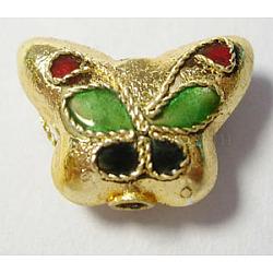 Handmade Cloisonne Beads, Butterfly, Gold, 15x11mm, hole: about 1mm(CLBB033Y)