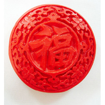Cinnabar Beads, Carved Lacquerware, Flat Round, Red, 50mm in diameter, 13.5mm thick, hole: 2mm(CLB016Y)