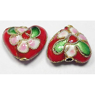 Handmade Cloisonne Beads, Heart, Red, 12mm; Hole:2mm(CLB052Y-3)
