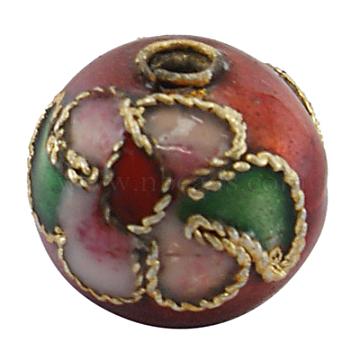 Handmade Cloisonne Beads, Round, DarkRed, about 10mm in diameter, hole: 1.5mm(CLB10MMC14)