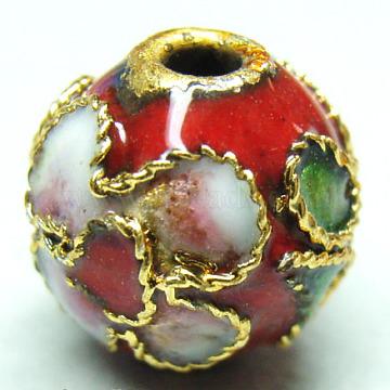 Handmade Cloisonne Beads, Filigree Round, Red, 10mm, Hole: 1mm(CLB10mmC04)