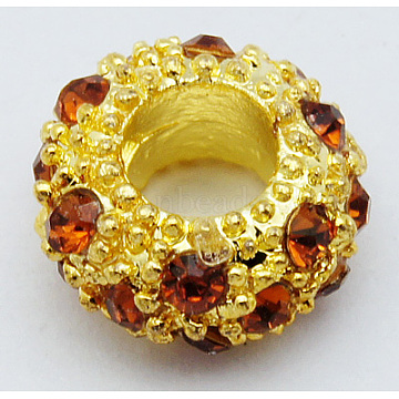 11mm Goldenrod Rondelle Alloy + Glass Rhinestone Beads