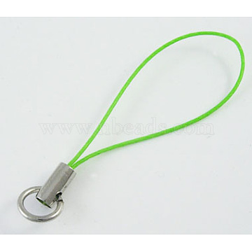 Cord Loop with Iron Ends, Platinum, Green, about 46mm long, Ring: about 8mm in diameter(CWP009Y)