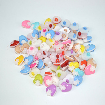 Heart with Flower Buttons, ABS Plastic Button, Mixed Color, about 15mm in diameter, hole: 3mm, about 400pcs/bag(NNA0VBC)