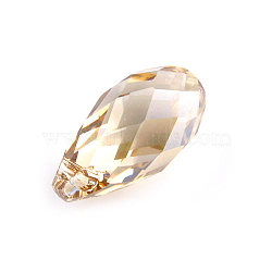 Pendentifs goutte briolette cristal autrichien pour diy accessoires de boucles d'oreille de bijoux faits à la main, cristal Golden Shadow,  largeur de 5.5 mm, Longueur 11mm(X-6010-11X5.5MM-GSHA)