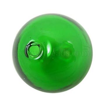 Perles de globe en verre soufflé faites à la main, rond, limegreen, environ 28 mm de diamètre, Trou: 2mm(DH019J-2)