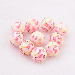 perles en résine peintes par pulvérisation, avec le modèle, arrondir, rose, 10 mm, trou: 2 mm(GLAA-F049-A05)