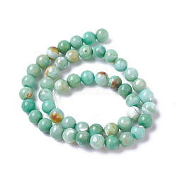 Natural Dyed Agate Imitation Turquoise Beads Strands, Round, MediumSea Green, 6mm, Hole: 0.8mm, about 60~64pcs/strand,  14.88inches~15.15''(37.8~38.5cm)