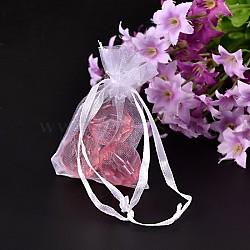 Emballage de bijoux en rectangle, Pochette organza pour cadeaux, blanc, 5 cm x7cm(X-OP110-7)