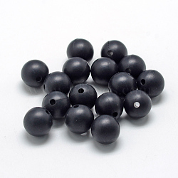 Food Grade Environmental Silicone Beads, Chewing Beads For Teethers, DIY Nursing Necklaces Making, Round, Black, 8~10mm, Hole: 1~2mm(X-SIL-R008A-10)