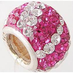 Perles européennes avec cristal autrichien de simple core en argent sterling , Perles avec un grand trou   , rondelle, 502 _fuchsia, 11x7.5mm, Trou: 4.5mm(CPDL-D007-8)