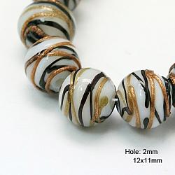 """Chapelets de perles vernissées de sable d'or manuels, rond, blanc, 12x11mm, trou: 2mm; environ 23 pcs/chapelet, 10""""(X-LAMP-G045-1)"""