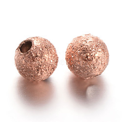 Round Brass Textured Beads, Rose Gold, 4mm, Hole: 1mm(X-KK-L129-27RG)