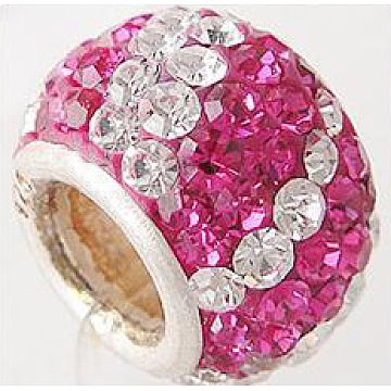 Austrian Crystal with 925 Sterling Silver Single Core European Beads, Large Hole Beads, Rondelle, 502_Fuchsia, 11x7.5mm, Hole: 4.5mm(CPDL-D007-8)