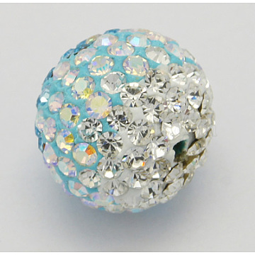 Austrian Crystal Beads, Pave Ball Beads, with Polymer Clay inside, Round, 101_Crystal+AB & 001_Crystal, 12mm(X-SWARJ-H001-3)